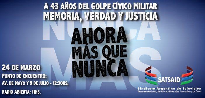 Este 24 de marzo, marchamos por Memoria, Verdad y Justicia